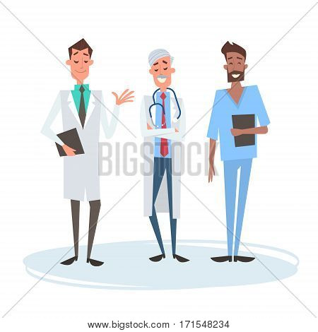 Group Medial Doctors Man Team Clinics Hospital Flat Vector Illustration
