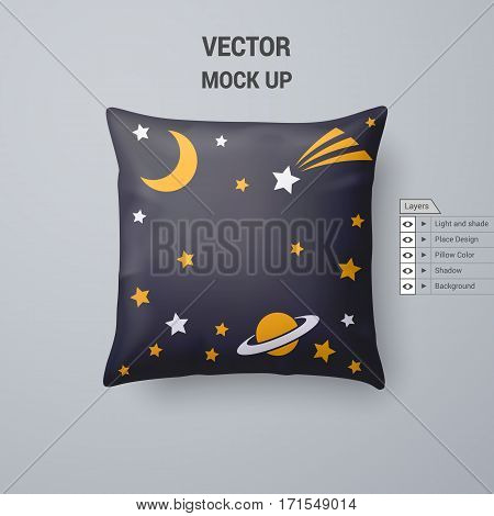 Black Pillow with Space Pattern Isolated on White Background