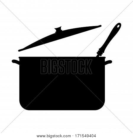 monochrome silhouette with pans and soup ladle vector illustration