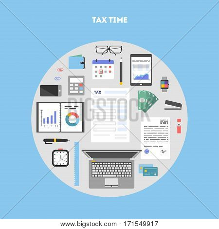 Banner and icon set, flat design in circle. Payment of tax. State taxes, analysis of financial data, statistics, calculation of tax return. Objects workplace and devices for web, vector illustration