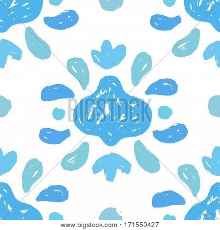 Vector hand drawn seamless pattern. Paint curve floral element.
