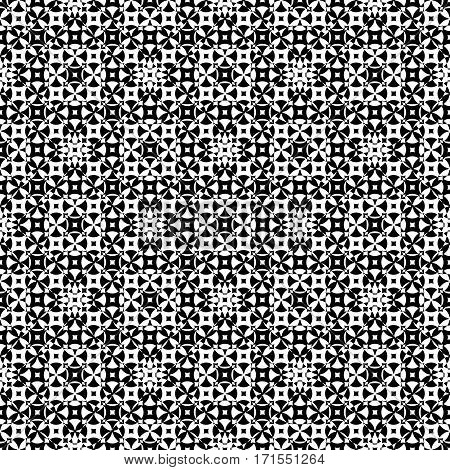 Vector monochrome seamless pattern. Abstract ornamental texture, repeat geometric tiles. Black & white endless specular background, illusion of movement. Design element for prints, decoration, textile, furniture, cloth, digital web
