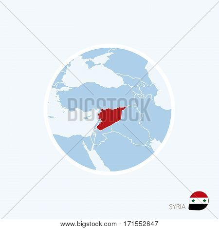 Map Icon Of Syria. Blue Map Of Middle East With Highlighted Syria In Red Color.