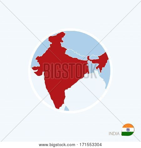 Map Icon Of India. Blue Map Of South Asia With Highlighted India In Red Color.