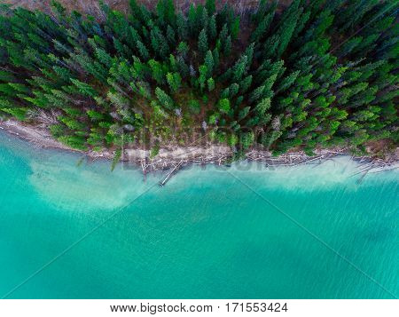 Aerial of Barrier Lake's shoreline in early November.