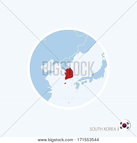 Map Icon Of South Korea. Blue Map Of East Asia With Highlighted South Korea In Red Color.