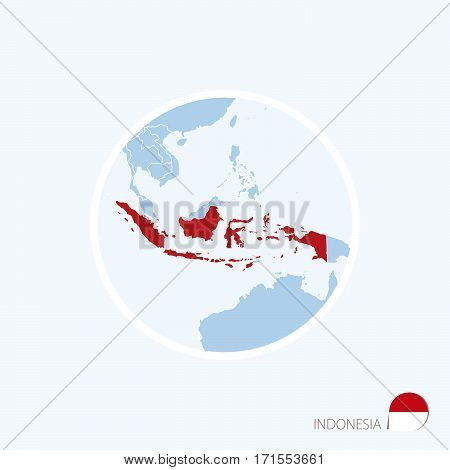 Map Icon Of Indonesia. Blue Map Of Asia With Highlighted Indonesia In Red Color.