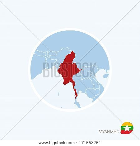 Map Icon Of Myanmar. Blue Map Of Asia With Highlighted Myanmar In Red Color.