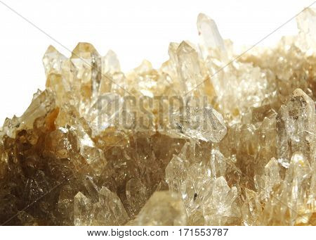 natural quartz semigem geode crystals geological mineral isolated