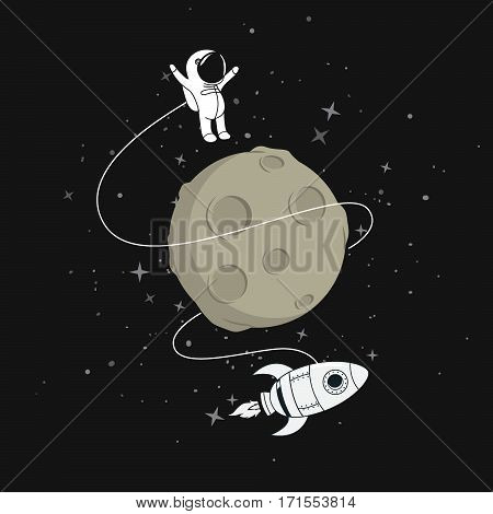 Cute astronaut with spaceship flying around the moon.Cartoon childish vector illustration