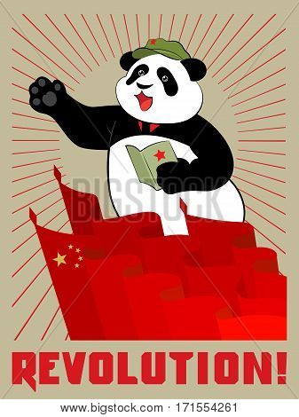 Panda in the cap with a red star holds in paws quote pad Mao Zedong on meeting. Red flags, the sun's rays and the inscription revolution. Poster in the China communist style.
