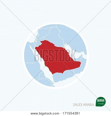 Map Icon Of Saudi Arabia. Blue Map Of Middle East With Highlighted Saudi Arabia In Red Color.