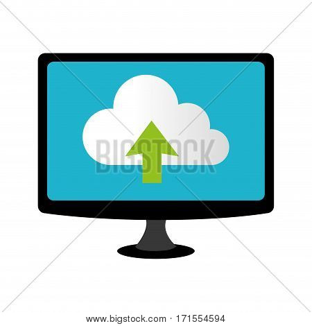 color lcd monitor with cloud upload service vector illustration