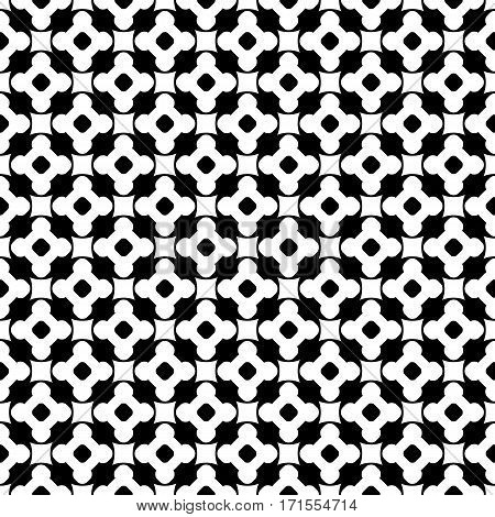 Vector monochrome seamless pattern, black & white repeat ornament texture, endless backdrop. Abstract mosaic background with simply geometric figures, flowers, cubes, circles. Modern design element for decoration, prints, textile