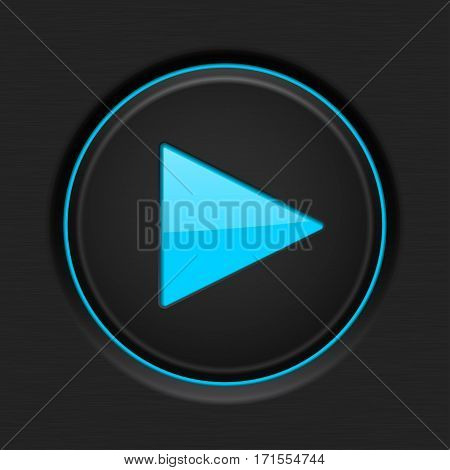 Play button. Black plastic element with blue backlight. Vector illustration