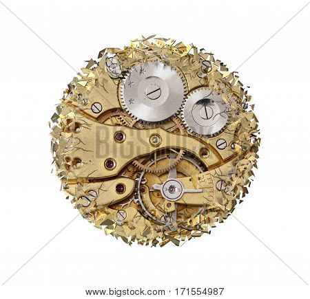 Abstract image of the shattered clockwork mechanism