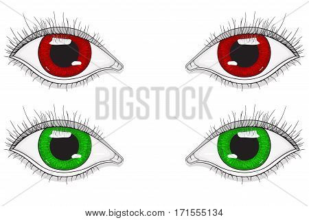 Eyes. Red and green cartoon eyes. Hand drawn sketch. Vector illustration isolated on white background