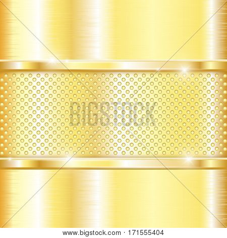 Golden background. Perforated plate. Shiny 3d vector illustration