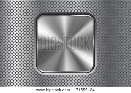 Square metal button on perforated background. Vector illustration