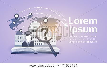 Open Book Law Library Read School Education Knowledge Concept Flat Vector Illustration