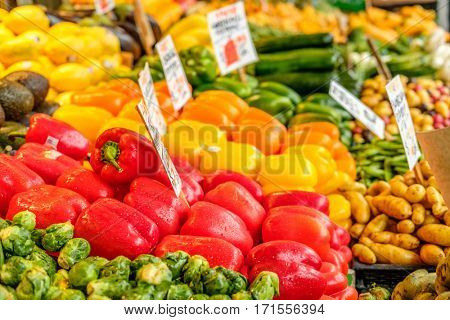 Fresh organic fruits and vegetables at farmers marketplace