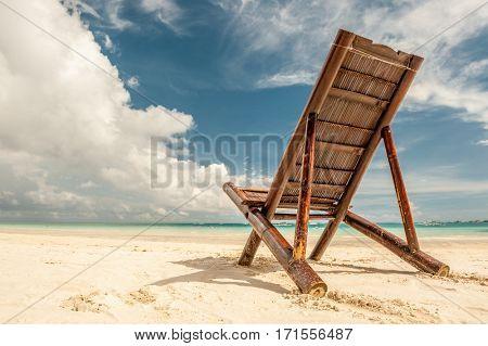 Beach chair at Boracay, Philippines.