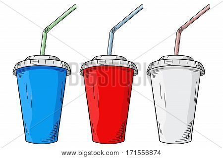 Drink in paper cup with straw. Hand drawn sketch. Vector illustration isolated on white background