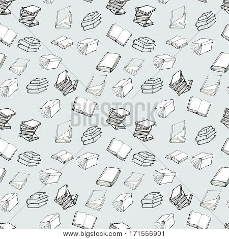 Seamless vector doodle pattern with books. Reading and education concept.
