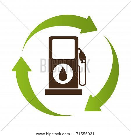 emblem in circle formed by arrows with bio fuel station vector illustration