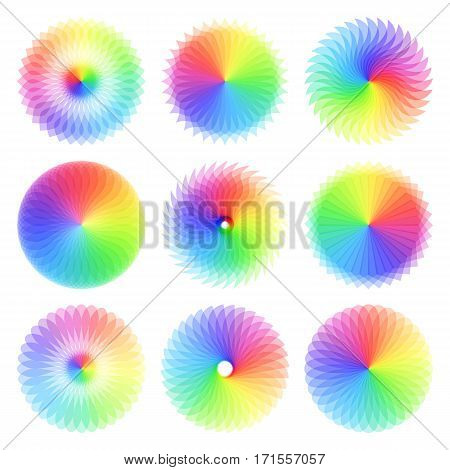 Set of abstract colorful spectrum wheels. Colorful rainbow spirograph circles. Template for logo, print, web-sites. Isolated on white background.