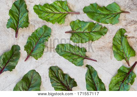 Raw beetroot leaves on rustic board. Top view. Mangold. Background.
