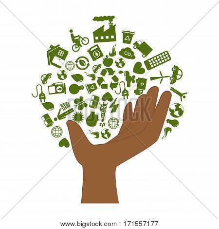 hand with enviroment of recycle and ecology vector illustration