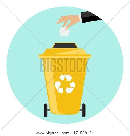 Hand throwing trash away Flat design, vector illustration