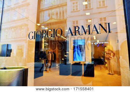 Vienna Austria - April 5 2015: Entrance of a Giorgio Armani shop in Vienna Austria. Shot taken on April 5th 2015