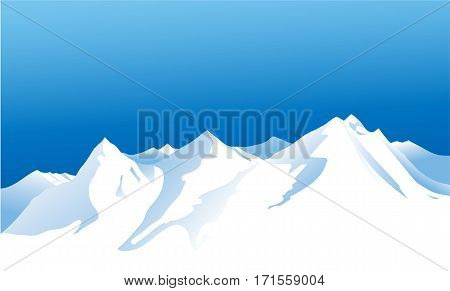 Nature background with winter mountains - vector illustration