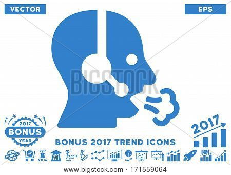 Cobalt Operator Speech pictograph with bonus 2017 year trend pictograph collection. Vector illustration style is flat iconic symbols white background.