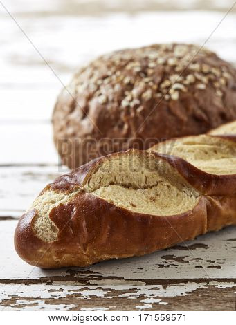 product bread and coffee on a white background