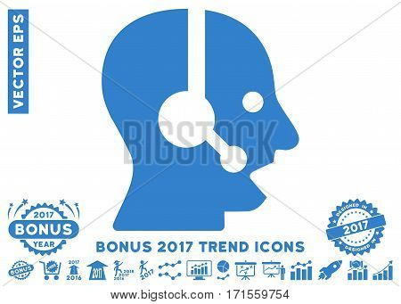 Cobalt Operator pictograph with bonus 2017 trend pictograph collection. Vector illustration style is flat iconic symbols white background.