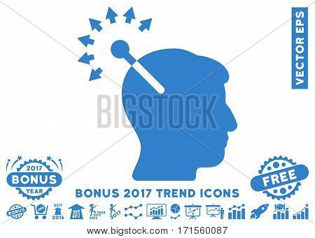 Cobalt Optical Neural Interface pictograph with bonus 2017 trend icon set. Vector illustration style is flat iconic symbols white background.
