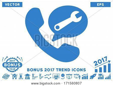Cobalt Phone Service Message icon with bonus 2017 trend design elements. Vector illustration style is flat iconic symbols white background.