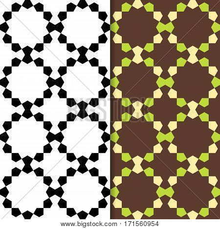 Geometric seamless pattern with pentagon. Repeating abstract vector background with monochrome and color style.