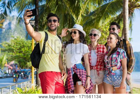 Young People Group On Beach Taking Selfie Photo On Cell Smart Phone Summer Vacation, Happy Smiling Friends Sea Holiday Ocean Travel