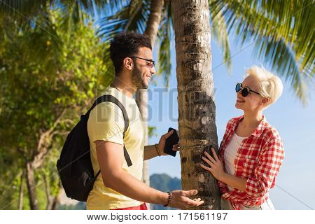 Couple On Tropical Beach Palm Trees Summer Sea Vacation, Beautiful Young People Lovers, Man Woman Holiday Ocean Travel