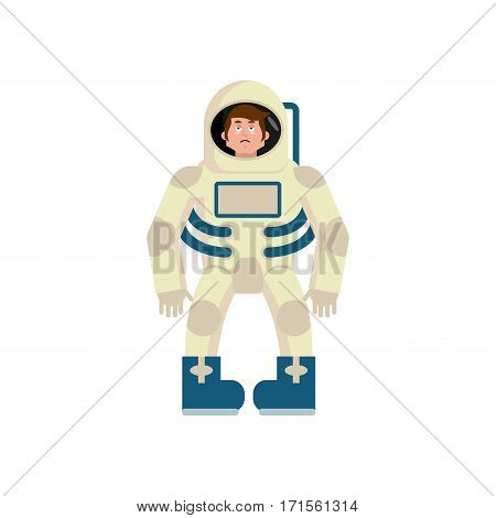 Astronaut Sad Emoji. Cosmonaut Sorrowful Emotion Isolated. Spaceman