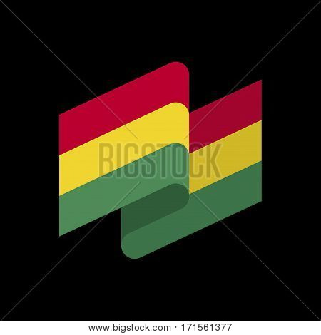 Bolivia Flag Ribbon Isolated. Bolivian Tape Banner. National Symbol Of Countrys Public
