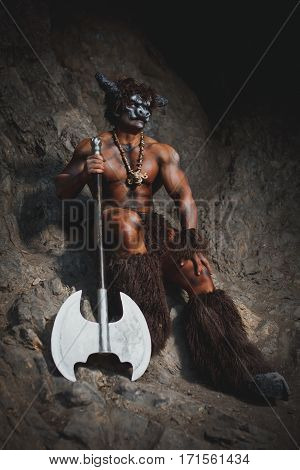 Bodyart Man Angry Minotaur With Axe In Cave