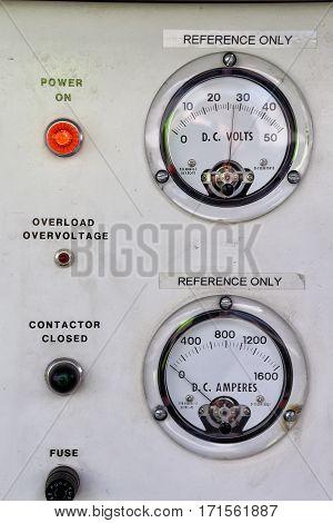 Ground power unit voltage and current indicators