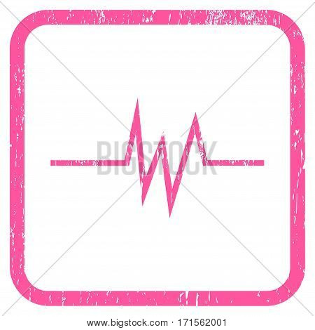 Pulse Signal rubber watermark. Vector icon symbol inside rounded rectangular frame with grunge design and dirty texture. Stamp seal illustration. Unclean pink ink emblem on a white background.