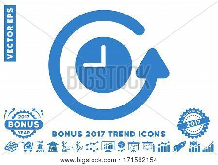 Cobalt Restore Clock pictogram with bonus 2017 year trend pictograph collection. Vector illustration style is flat iconic symbols white background.