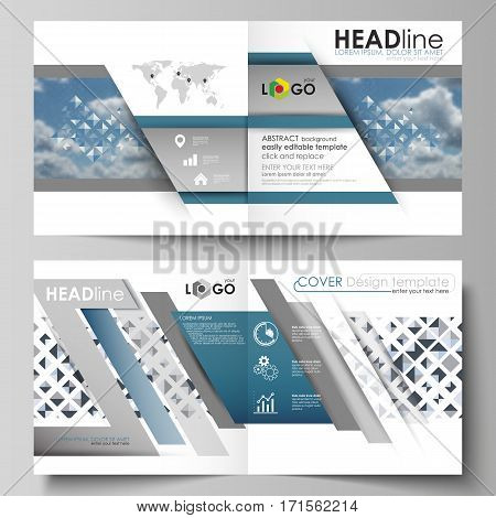 Business templates for square design bi fold brochure, magazine, flyer, booklet or annual report. Leaflet cover, abstract flat layout, easy editable vector. Blue color pattern with rhombuses, abstract design geometrical vector background. Simple modern st